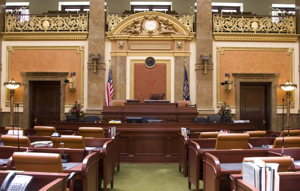 an empty courthouse before a mock trial